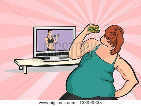 fat young girl wants to lose weight in front of TV with a meal