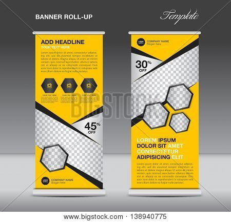 Yellow Roll up banner stand template advertisement flyer design vector for business