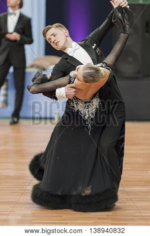 Minsk Belarus -May 28 2016: Sobolevskiya Iliya and Buldyk Arina Perform Youth-2 Standard Program on National Championship of the Republic of Belarus in May 28 2016 in Minsk Belarus