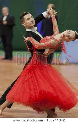 Minsk Belarus -May 28 2016: Adamovskiy Vladislav and Valashimas Stefaniya perform Youth-2 Standard Program on National Championship of the Republic of Belarus in May 28 2016 in Minsk Belarus