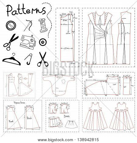 Big set of patterns of women clothes and elements of sewing.