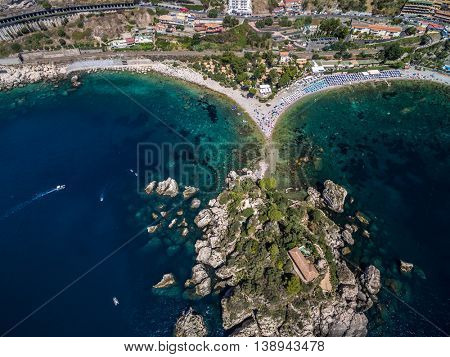 Aerial View of beach and island Isola Bella at Taormina, Sicily