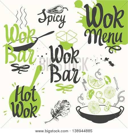 Vector food illustration with wok products. Sketch set with wok pan and products. Funny labels asian fast food symbols.