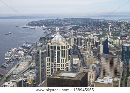 SEATTLE, WASHINGTON, USA - JULY 29, 2011: Skyline of Seattle and Space Needle Tower from Columbia Center in Washington United States.
