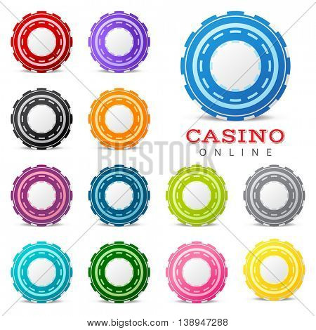 13 highly detailed gambling chips over white background