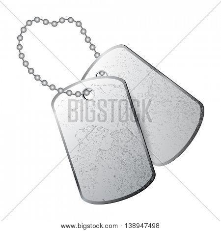 Dog tags isolated on white background