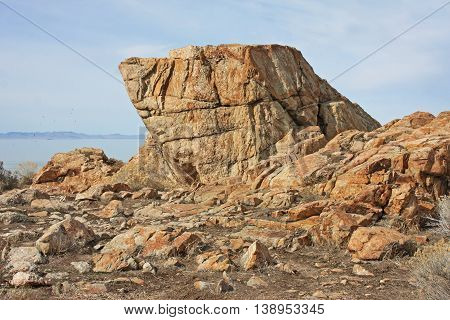 Rock formation on Antelope Island in Utah