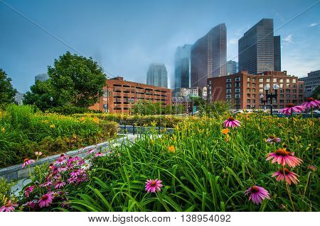 Walkway And Gardens At North End Park With View Of Buildings In Downtown In Fog, In The North End, B