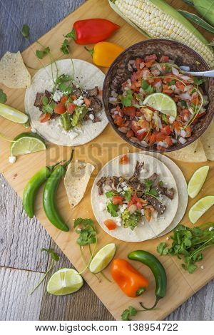 Tex-Mex Mexican food and ingredients for Steak Tacos