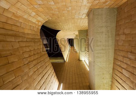Chianti Region, Italy-May 31, 2015. Interior views of the very modern architecture of the Antinori Winery in the Chianti region of Italy