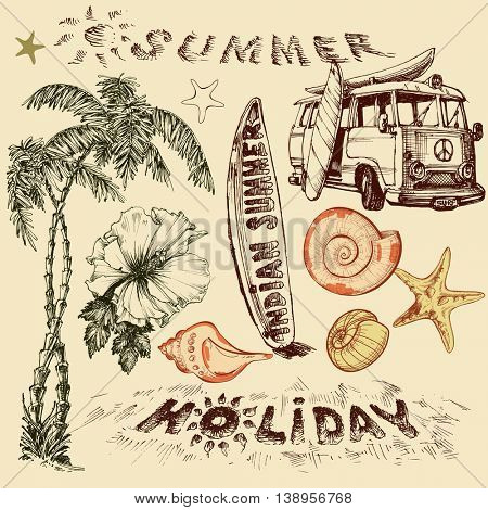Summer holiday vector set, surf elements