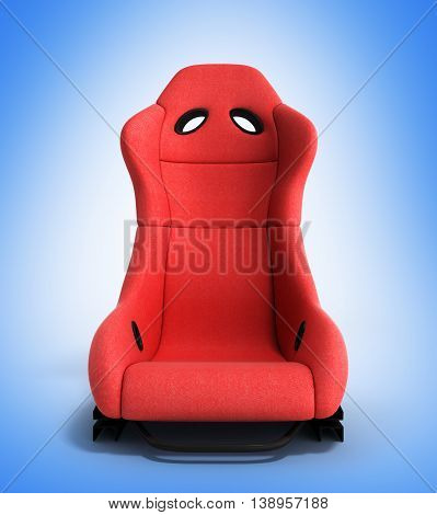Sporty Red Automobile Armchair Front 3D Illustration On A Gradient Background