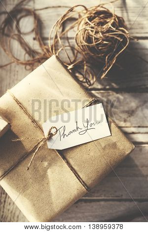 Rustic Vintage Wrapped Present Thankyou Message Concept