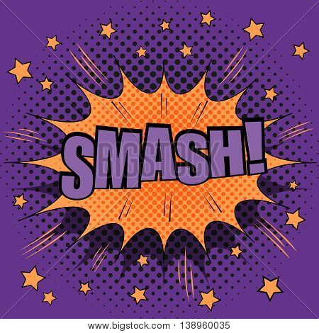 Smash comic retro text. The illustration of comic hit with sound effects, stars and purple halftone background. Pop-art style