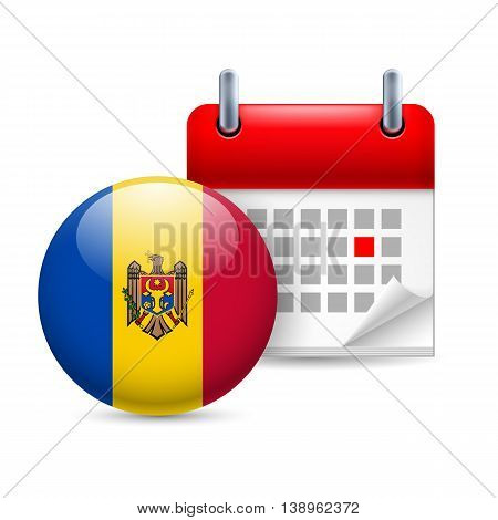 Calendar and round Moldovan flag icon. National holiday in Moldova