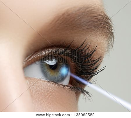 Laser vision correction. Woman's eye. Human eye. Woman eye with laser correction. Eyesight concept