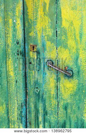 Old Wooden Door With Green Paint