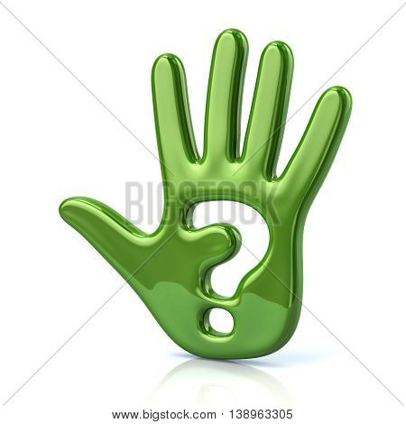 3D Illustration Of Green Hand And Question Mark