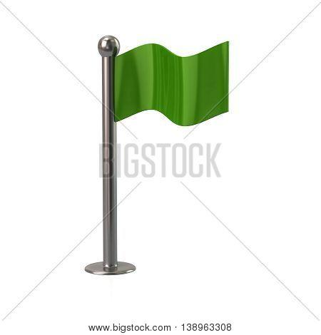 3D Illustration Of Green Flag Icon