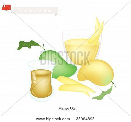 Tongan Cuisine Mango Otai or Traditional Drink Made From Ripe Mango and Coconut Milk. One of The Most Famous Drink in Tonga.