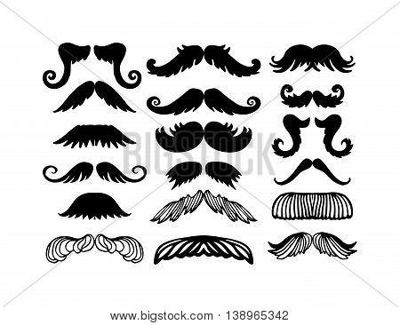 Black silhouette vector mustache. Mustache black hair and man mustache hipster set. Mustache retro curly black silhouette collection beard mustache. Mustache barber silhouette hairstyle