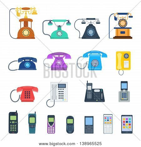 Modern telephones and vintage telephones isolated. Classic telephones technology support symbol, retro telephones mobile equipment. Telephones communication call contact device vector set.