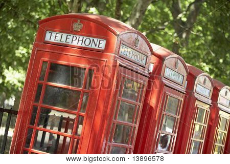 Red Telephone Booths In A Row