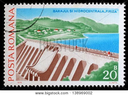 ROMANIA - CIRCA 1978: a 20 bani stamp from Romania shows image of Firiza Dam and Hydropower Station, circa 1978