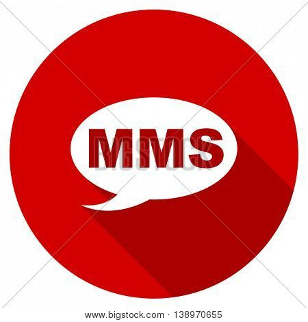 mms vector icon, red modern flat design web element
