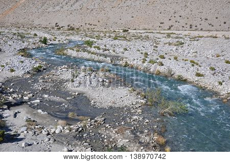 Water rushes through the desert near the town of Palm Springs, California.