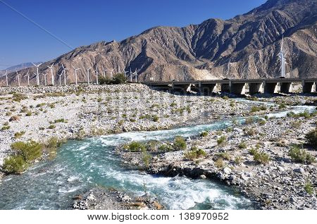 Water flows through Whitewater Canyon near the desert city of Palm Springs, California.