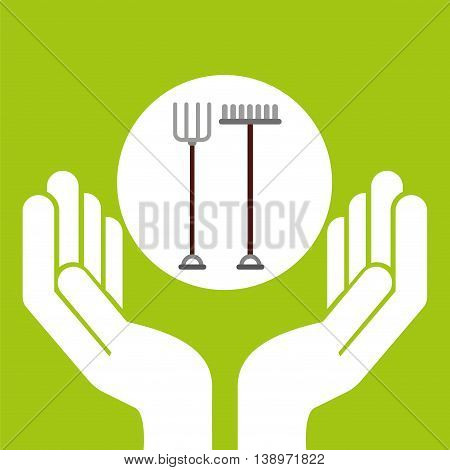 farm countryside hand holding isolated, vector illustration
