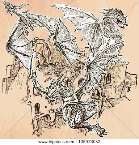 DRAGONS flying upon the old Castle Ruins. Freehand sketching line drawing. An hand drawn vector illustration. Colored background is isolated. Line drawing technique. Vector is easy editable.