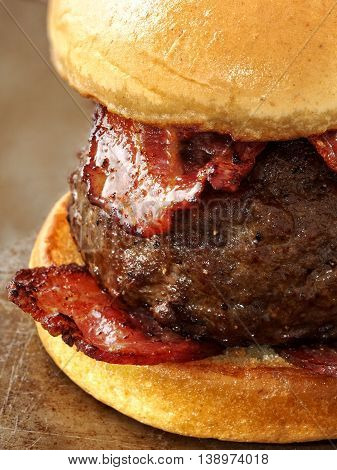 close up of rustic carnivore meat lover hamburger