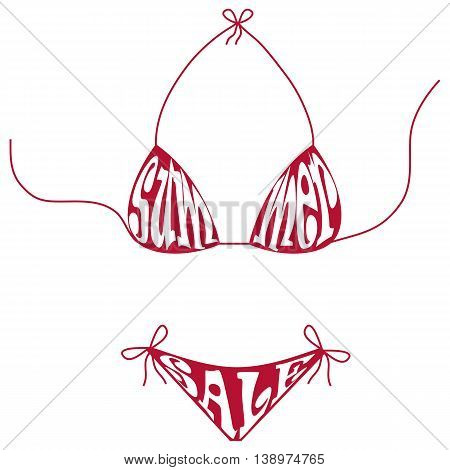 Summer sale text composition in shape of swimsuit. Summer sale poster