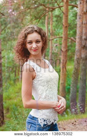 Outdoors Portrait of Beautiful Young Brunette Girl. Beauty Concept
