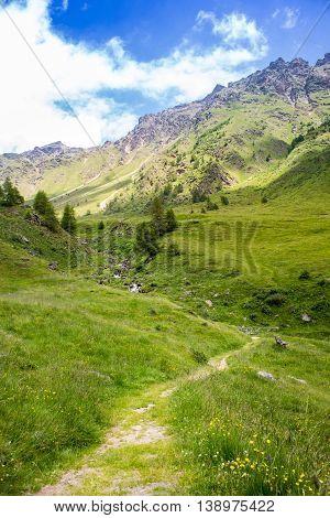 Pathway Brings Into Valle Di Viso, Near Ponte Di Legno - Italy