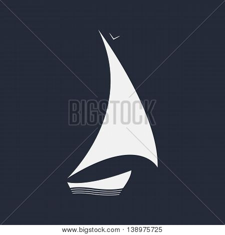 Sailing icon. Vector boat on the waves