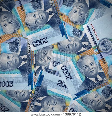 Background kip currency of Laos. Money texture.