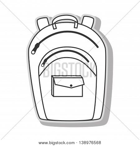 school backpack utensil in black and white colors, isolated flat icon.