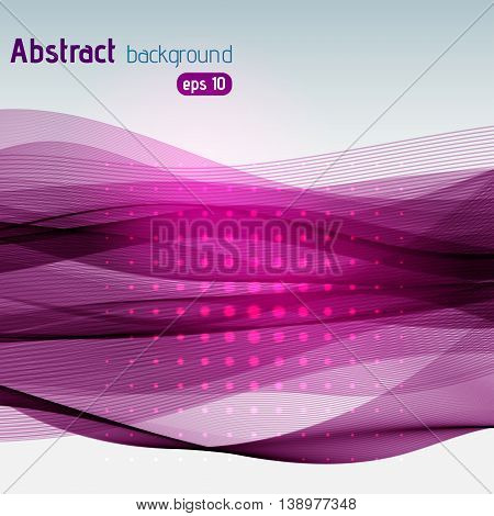 Background With Light Dots And Lines. Abstract Backdrop. Vector Illustration. Pink, Purple Colors.