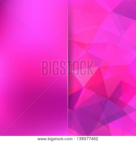 Background Of Geometric Shapes. Blur Backdrop With Glass. Pink Mosaic Pattern. Vector Illustration.