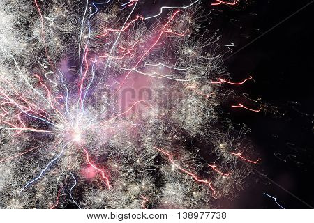 Fireworks lighting the sky for Canada Day