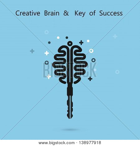 Creative brain sign with key symbol. Key of success concept.Inspiration or innovation idea.Key and brain logo design.Business and education idea concept.Vector illustration.