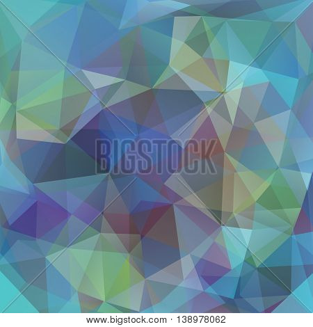 Abstract Mosaic Background. Triangle Geometric Backdrop. Vector Illustration. Green, Blue, Purple Co