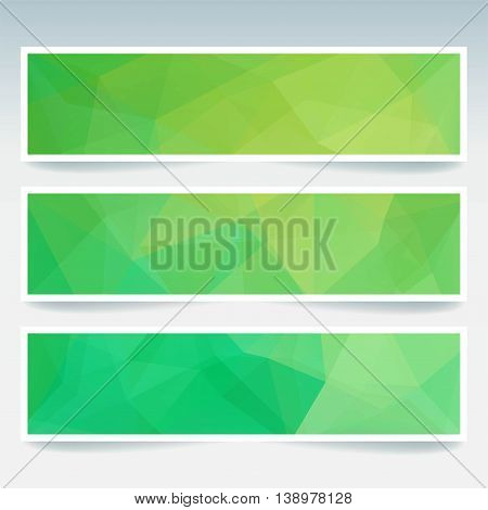 Set Of Banner Templates With Abstract Background. Modern Vector Backdrop With Polygonal Triangles. G