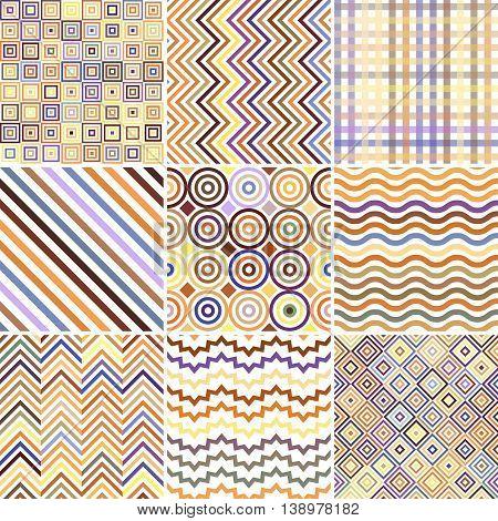 Set Of Seamless Abstract Background, 9 Geometric Pattern, Vector Illustration. Pastel Yellow, Orange