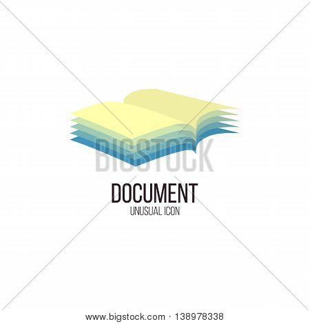 Isolated abstract opened book vector logo. Folder with documents logotype. Education and office equipment. School and university element.