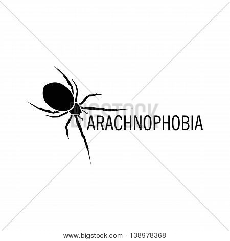 Isolated white color spider on the black background vector logo. Wild dangerous poisonous insect illustration. Arachnophobia. Halloween icon.