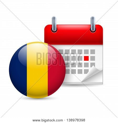 Calendar and round Chadian flag icon. National holiday in Chad